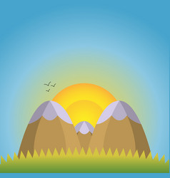 a natural landscape two mountains with snow caps vector image