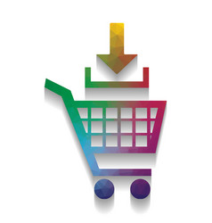 add to shopping cart sign colorful icon vector image
