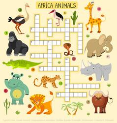 african animals crossword for children vector image