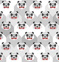 Angry Panda Seamless pattern of ferocious bears vector