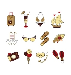 Beach holiday colored icons vector image