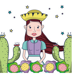 beautiful woman with hat cactus and colorful vector image