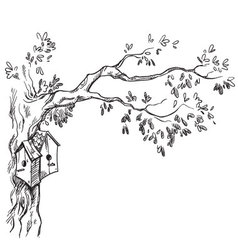 Bird houses on a tree vector