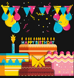 birthday cakes with decoration of balloons helium vector image