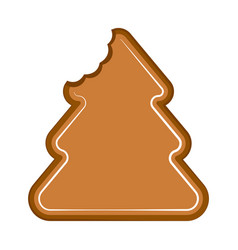 Bitten christmas tree gingerbread vector