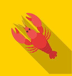 Boiled lobster icon in flat style isolated on vector