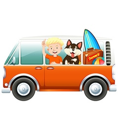 Boy and dog on camper van vector