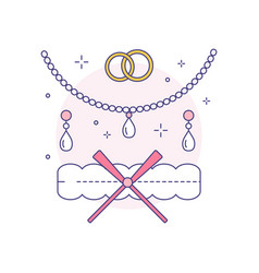 Bridal jewelery and garter line art icon vector