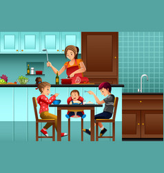 Busy mother in the kitchen with her kids vector