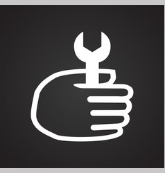 Car repair hand with wrench on black background vector