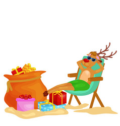 cartoon xmas deer resting in chair with bag full vector image
