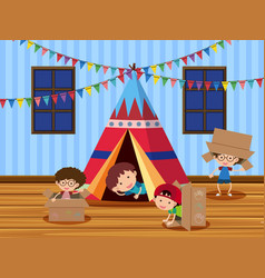 Children playing in the tent vector