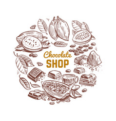 chocolate shop emblem design with sketched vector image