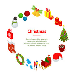 christmas celebration banner card circle 3d vector image
