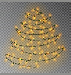 Christmas color tree of lights string transparent vector