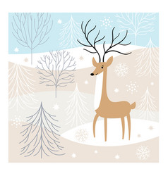 christmas deer greeting card vector image