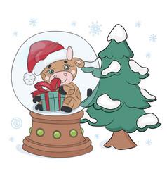Christmas tree bull new year cartoon vector