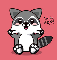 color background with cute kawaii animal raccoon vector image