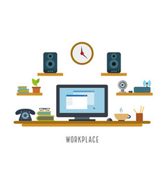 contemporary workplace stylish and in flat style vector image