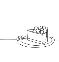 Continuous line drawing piece cake vector