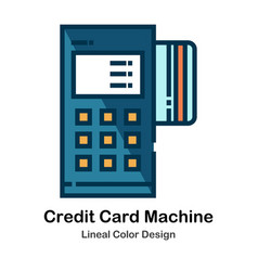 Credit card machine lineal color icon vector