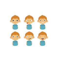 cute boy facial emotions set kids face with vector image