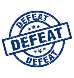 Defeat blue round grunge stamp vector