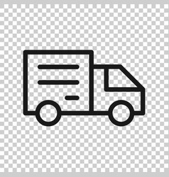 Delivery truck sign icon in transparent style van vector