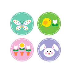 easter circle icons with bunny chick and flowers vector image