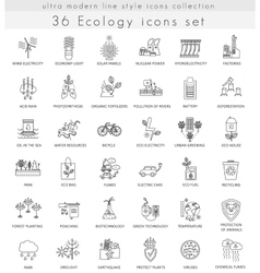 ecology ultra modern outline line icons vector image