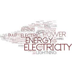 Electricity word cloud concept vector