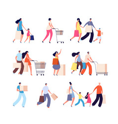 Family shopping consumers woman buy food or vector