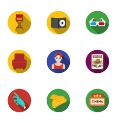 Films and cinema set icons in flat style Big vector