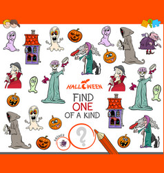 find one of a kind game with halloween characters vector image