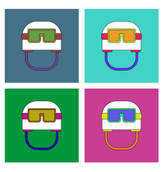 Flat icon design collection military helmet with vector