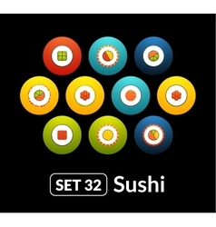 Flat icons set 32 - sushi collection vector image
