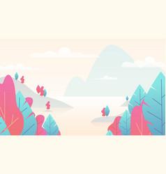 Flat minimal landscape mountain nature scene vector