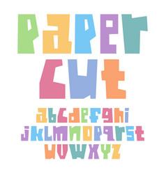 font paper cut lower case pastel colors vector image