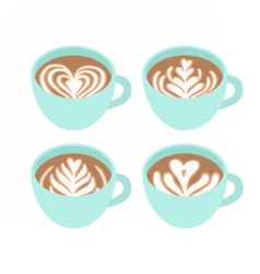Four cups Different drawings on coffee foam vector image
