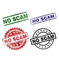 Grunge textured no scam seal stamps vector