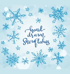 hand drawn snowflakes vector image