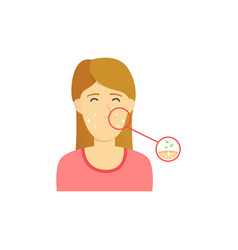Happy brown hair woman girl with clean face vector