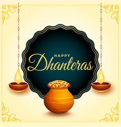 Happy dhanteras festival card with diya and gold vector