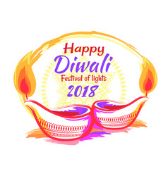 Happy diwali festival 2018 on vector