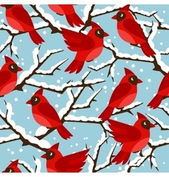 Happy holidays seamless pattern with birds red vector image