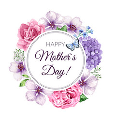 Happy mother s day greeting card on floral vector