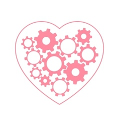 Heart with gears inside vector