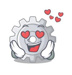 in love gear settings mechanism on mascot shape vector image