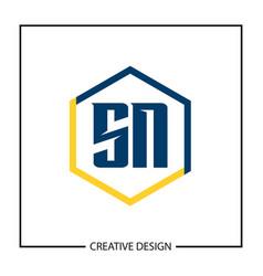 initial letter sn logo template design vector image