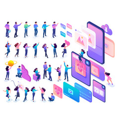 Isometric teenagers in bright clothes with large vector